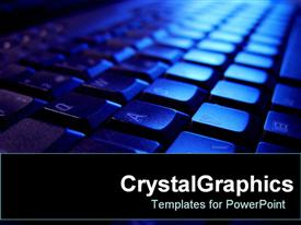 PowerPoint template displaying close up of keyboard in blue with shadows