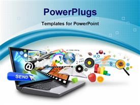 PowerPoint template displaying isolated laptop has many objects projecting out of the screen on a white background. Use it for an email download concept or internet research idea