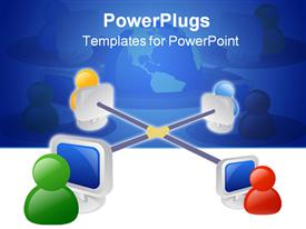 PowerPoint template displaying business networking icon in the background.