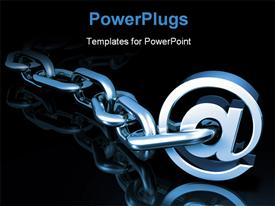 PowerPoint template displaying a stainless steel chain with the word @