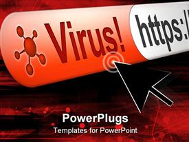 PowerPoint template displaying virus alert in web browser address bar with cursor hovering over warning in the background.