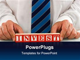 Businessman keep the INVEST sign template for powerpoint