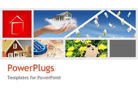 PowerPoint template displaying five tiles of houses and flowers and a hand