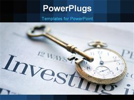 PowerPoint template displaying a clock with a key and busines related stuff in background