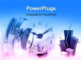 PowerPoint template displaying a number of clocks and locks with bluish background