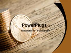 PowerPoint template displaying a stack of one dollar coins on a piece of paper