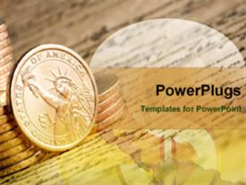 PowerPoint template displaying lots of coins on an open paper with writings
