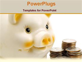 PowerPoint template displaying american piggy bank and coins