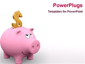 PowerPoint template displaying american piggy bank and golden dollar symbol