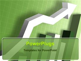 PowerPoint template displaying green charts graphs increasing financial growth of company bar chart