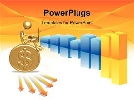 PowerPoint template displaying gold 3D man sits on gold coin with colored bars