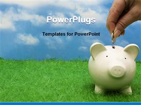 PowerPoint template displaying coin bank sitting on grass with hand putting in a coin