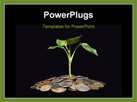 PowerPoint template displaying coins and plant in the background.