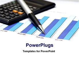 Financial bar chart with calculator and pen powerpoint theme