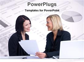 PowerPoint template displaying two professionals with a pie chart in the background