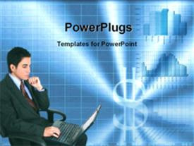 Financial consultant working in laptop template for powerpoint
