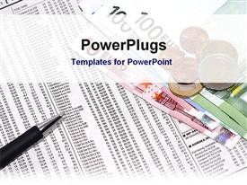 PowerPoint template displaying financial documents and European currency on a desk in the background.