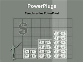 PowerPoint template displaying financial growth showing with dollar bar chart in the background.