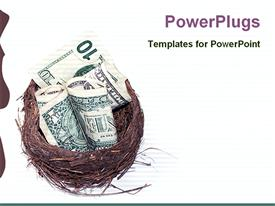 PowerPoint template displaying several dollar notes sitting in egg nest over white background