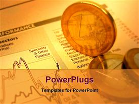 PowerPoint template displaying financial report sheet and currency on a desk in the background.