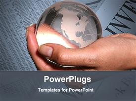 PowerPoint template displaying globe holding in hand in the background.