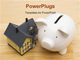 PowerPoint template displaying a small house with a whit colored piggy bank