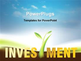 PowerPoint template displaying a depiction of greenery and the word investment with clouds in the background