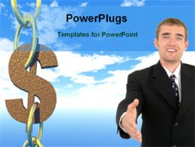 PowerPoint template displaying man gestures for handshake withdollar symbol forming part of chain