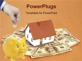 PowerPoint template displaying mini house on us dollars space for messages in the background.