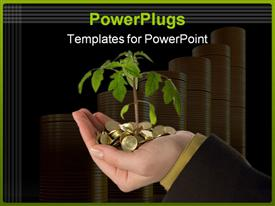 PowerPoint template displaying plant sprouting out from golden coins in hand with coin stacks in background