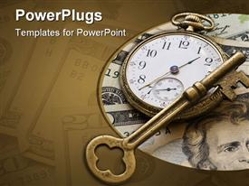 PowerPoint template displaying brass skeleton key laying across antique pocket watch on money background