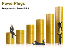 PowerPoint template displaying people and building of a coins in the background.