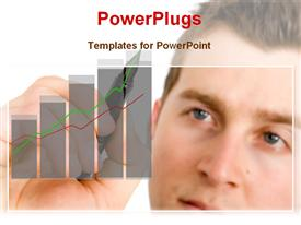 PowerPoint template displaying person drawing business growth chart in the background.