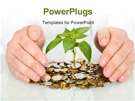Protecting a good investment and making money concept - businessman hands with plant sprouting powerpoint theme