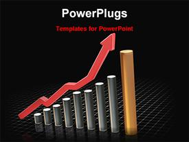 PowerPoint template displaying rising profit in the background.