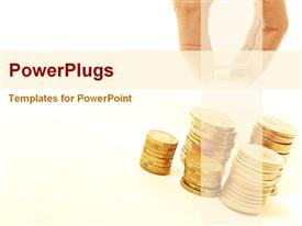 PowerPoint template displaying saving of money in the background.