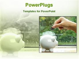 PowerPoint template displaying saving money for future in the background.