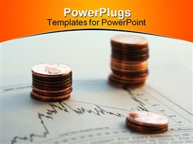PowerPoint template displaying two stacks of gold coins on a graph sheet