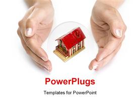 PowerPoint template displaying woman hands with small house - real state concept