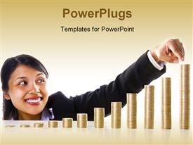 PowerPoint template displaying young Asian lady points to highest bar of bar chart with gold coins