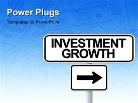 American road sign pointing toward investment growth powerpoint template