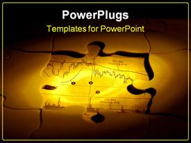 PowerPoint template displaying puzzle missing pieces with stock chart showing through in the background.