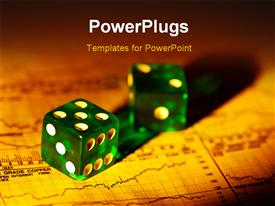 PowerPoint template displaying two dices with  financial report in the background