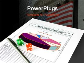 PowerPoint template displaying wall Street in background with colored dice and pen on investment strategy