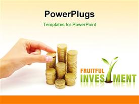PowerPoint template displaying hand arranging stack of coins on white background depicting financial investment