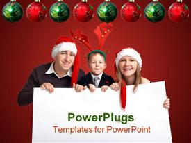 PowerPoint template displaying a family celebrating Christmas together with red background