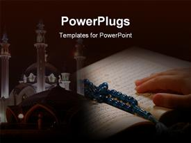 PowerPoint template displaying hand on Koran with prayer beads and a temple in the background