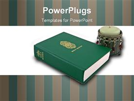 PowerPoint template displaying holy Quran the Muslim holy book in the background.
