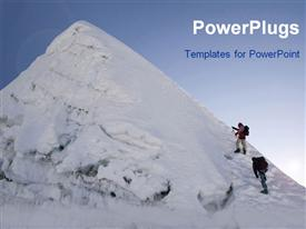 PowerPoint template displaying two people geared up to climb a snow covered mountain