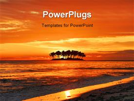 PowerPoint template displaying island silhouette and a sunset beach with vivid colors
